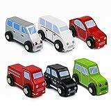 Symiu Auto Spielzeug aus Holz Fahrzeug Holzspielzeug Modellauto Holzauto Spielzeug Geburtstagsgeschenk für Kinder Junge Mädchen ab 3 4 5 Jahre (MEHRWEG)