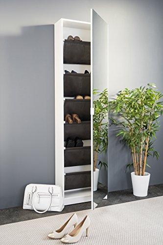 Spiegelschuhschrank, Schuhschrank mit Spiegeltür (B/H/T: 50 x 180 x 20), weiß