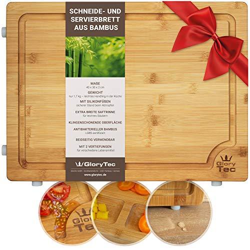 Glorytec Schneidebrett aus Bambus - XL Küchenbrett 40 x 30 x 2cm - beidseitig verwendbar & klingenschonend - mit Silikonfüßen und extra Breiten Saftrinne