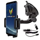 Mobilefox 360° KFZ Handy Saugnapf Halterung + Micro-USB Ladekabel + C Adapter Auto Halter Windschutzscheiben SET für Samsung Galaxy S9 S8 Plus Note 8 A3 A5 (2017)
