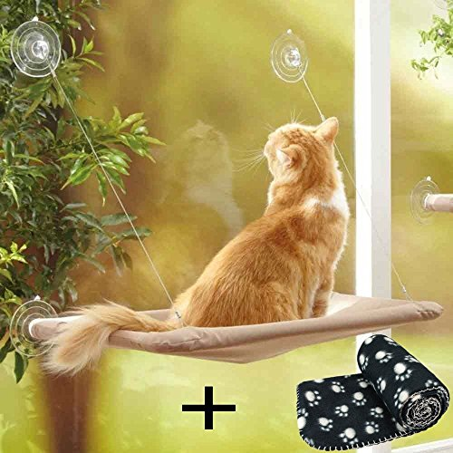 JZK Katzen Fensterplatz Window Lounger Katzen Hängematte + Katzendecke, Sonnenbad Katzenbett Haustierbett für Haustier Katze klein Hund Kaninchen oder andere Kleintiere