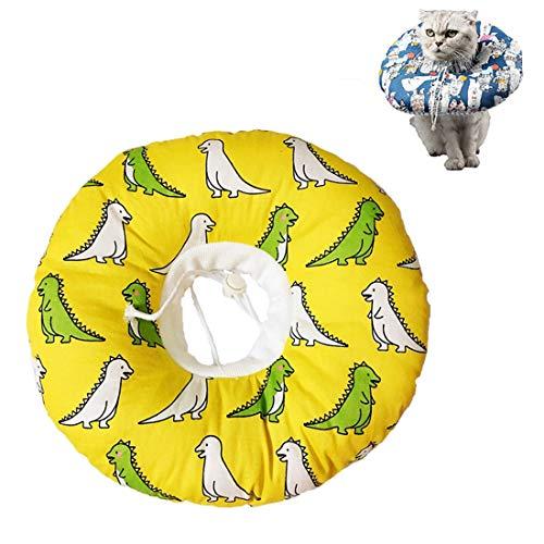 VICTORIE Haustiere Schutzkragen Wiederherstellung Schutzhalsband Halskrause Pflege Wunde Hals Leckschutz Bissschutz für Katzen Hunde Welpen Kätzchen Gelb L