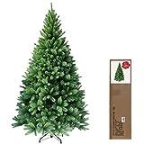 RS Trade 150 cm ca. 620 Spitzen hochwertiger künstlicher Weihnachtsbaum mit Metallständer, Minutenschneller Aufbau mit Klappsystem, schwer entflammbar, HXT 1101