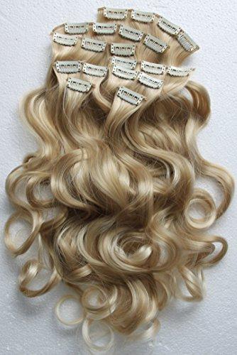 PRETTYSHOP XXL 60cm 8 teiliges SET Clip In Extensions Haarverlängerung Haarteil hitzebeständig wie Echthaar div. Farben (gewellt blond mix 25T613 CES7-1)