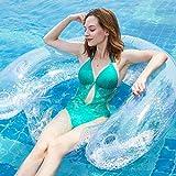 Ecisi Sitzen Sie aufblasbare Lounge Float, tragbare Pool Float, aufblasbare Bett Schwimmen schwimmende Reihe sitzen klare Handlauf Rückenlehne schwimmende Liege für Freibad Lake Beach