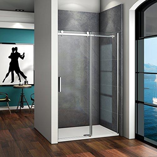 160x195cm 6mm Klarglas Dusche Duschabtrennung Duschwand Schiebetür Nischentür ohne Duschtasse