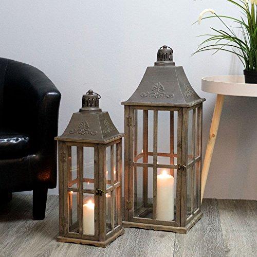 2tlg. Laternen Set Stalllaterne H74/58cm Antikbraun - Windlicht Kerzenleuchter Kerzenhalter Gartenleuchte Dekoration Tischdekoration