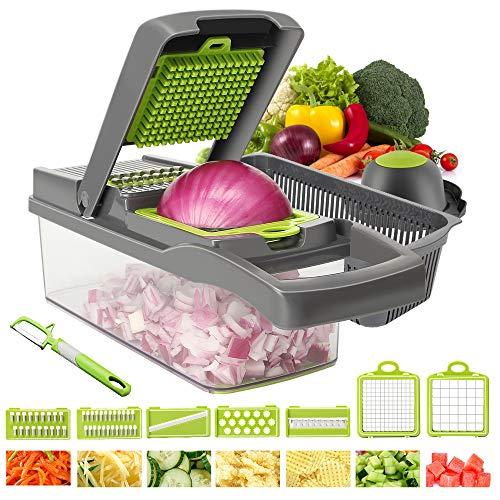 Aoweika Gemüseschneider, Zwiebelschneider Gemüsehobel Mandoline Slicer Kartoffelschneider Obstschneider Zwiebel Zerkleinerer Ideal zum Hobeln von Obst und Gemüse (13 Stck)