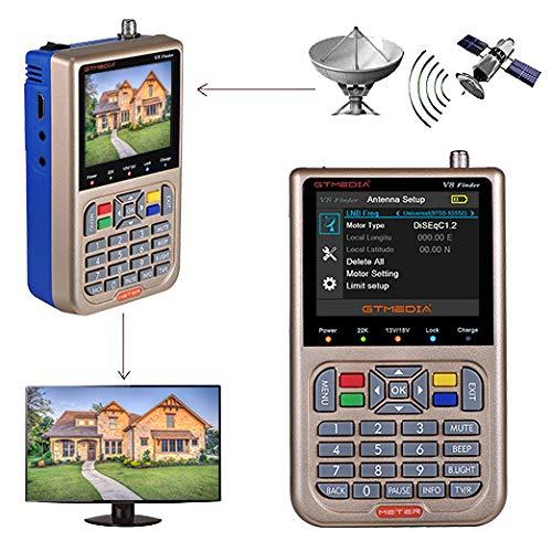 GT MEDIA V8 Satelliten Finder Meter Neu Satellitenfinder DVB-S / S2 / S2X Signalempfänger H.265 Hardware Sat-Detektor, HD 1080P Frei für FTA 3,5 'LCD Eingebauter 3000mAh-Akku zum Anpassen von Sat Dish