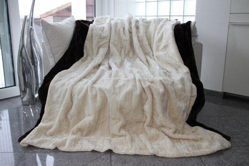 Felldecke, Creme, Weiß, Hochwertige Kuscheldecke, Decke, Wohndecke, Nerzdecke, Plaid, Webpelzdecke, Tagesdecke