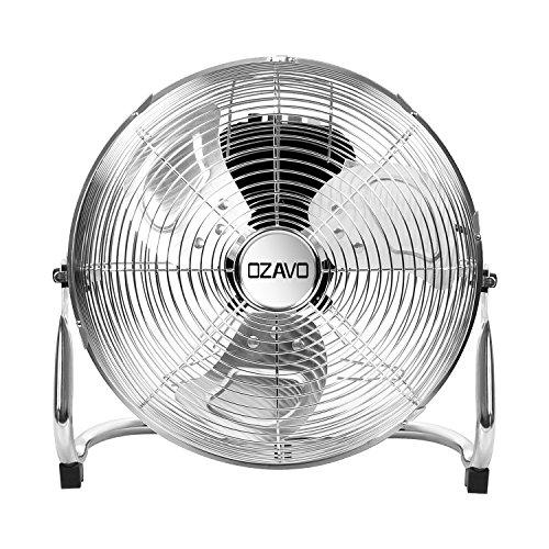 OZAVO Windmaschine, Metall Bodenventilator mit 3 Laufgeschwindigkeiten, Power Standventilator, Tischventilator 39 cm, Luftkühler, verstellbare Neigungswinkel, 45W