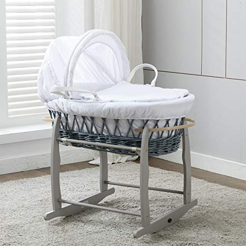 Mcc Komplettset Moses Weidenkorb, Baby Korb, Stubenwagen, in grau mit Matratze, weißem Bezug und Schaukelgestell