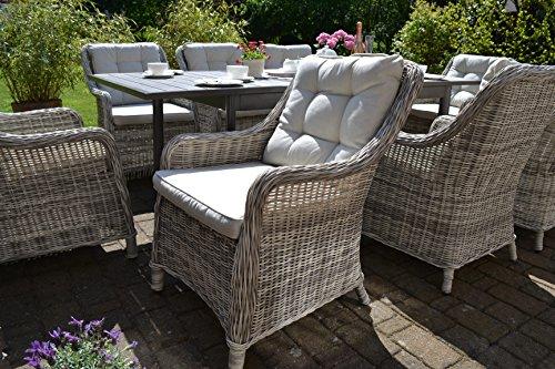 bomey Rattan-Sessel Set mit Polstern I Gartenmöbel Set Como 6-Teilig I Sechs Gartensessel Grau + Polster Beige I Lounge Sessel für Garten + Terrasse + Wintergarten