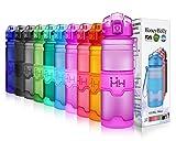 HoneyHolly Sport Trinkflasche - 17oz / 500ml - BPA frei dicht und umweltfreundlich - Für Gym, Laufen, Yoga, Camping, Outdoor, Männer, Frauen & Kinder - One Handed Open & Tritan Trinkflaschen aus Kunststoff mit Filter (0.5 Liter, Matte Lila)