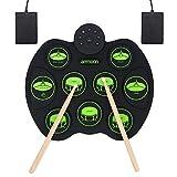 E-Drum Elektronisches Schlagzeug Kit 9 Pads , ammoon Tragbare Roll Up Schlagzeug, Faltbare Praxis-Instrument Eingebaute Lautsprecher & Drum Fußpedale Drumsticks für Kinder, Anfänger, Schlagzeuger