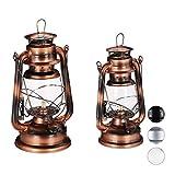 Relaxdays Petroleumlampe 2er Set, echte Öllampe als Fensterdeko oder Gartenlaterne, mit Henkel, 24 und 28 cm, Kupfer