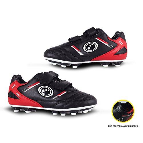 Optimum Jungen Tribal-Velcro Moulded Stud Fußballschuhe, Noir (Black/Red), 35 EU