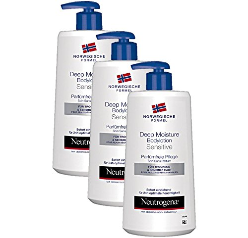 Neutrogena Norwegische Formel Deep Moisture Bodylotion Sensitive / Parfümfreie Pflege (3 x 400 ml)