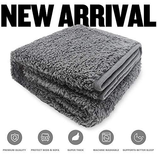 Allisandro Flauschige Hundedecke【80x60cm Anthrazit】 Katzen Decke mit super softe weiche zweiseitige Material Haustier-Decke, perfekt für Hundebett Sofa und Couch