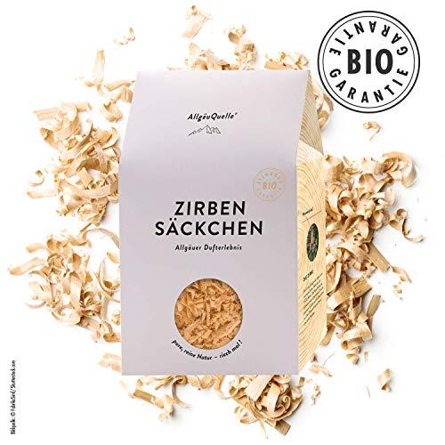 AllgäuQuelle Naturprodukte Bio Zirben-Säckchen mit 100% Bio-Zirbenspäne handgehobelt. Natürliches Bio Duftkissen. Bio Duftsäckchen naturrein und biologisch.
