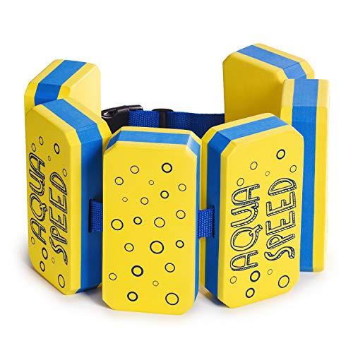 Aqua Speed Kieddie SCHWIMMGÜRTEL für Kinder | 6-teilig | Größenverstellbar | Schwimmhilfe | Schwimmgurt | Aqua-Fitness | Wassergymnastik | Rehabilitation | Stützend, Farbe:Gelb/Blau