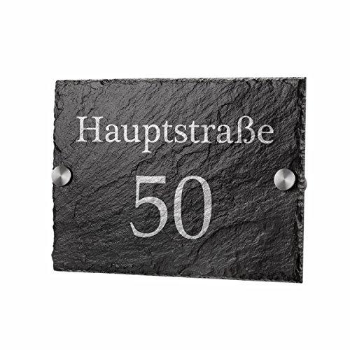 Schiefertafel Türschild Schieferplatte inkl. Gravur Motiv schlichter Straßenname mit Ihrer Hausnummer