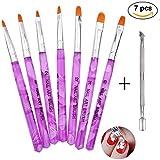 Pinselset 7-teilig für Nailart, UV-Gel, Acryl, 1er Pack von Ealicere (1 x 7 Stück)