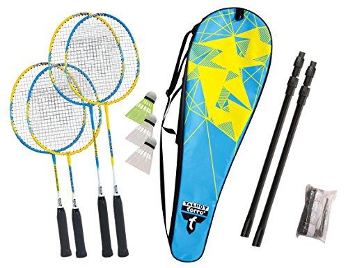 Talbot-Torro Badminton-Set Family, 2 Juniorschläger 53cm, 2 Standardschläger, 3 Federbälle, höhenverstellbare Netzgarnitur, in wertiger Tasche, tolles Komplett-Federballset für die ganze Familie, 449507