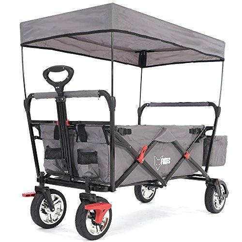 FUXTEC faltbarer Bollerwagen FX-CT500 grau klappbar mit Dach, Vorderrad-Bremse, Vollgummi-Reifen, Hecktasche, für Kinder geeignet - Das Original mit GS-Prüfsiegel geprüfte Qualität !