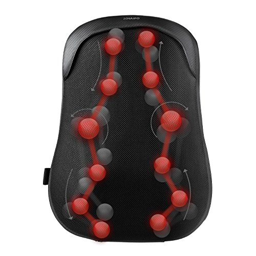 Naipo Rückenmassagegerät mit S-Design Thai-Massage zwölf Massageköpfe Akupressur Shiatsu vollständige Wärmefunktion für Haus Büro Auto
