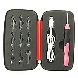 OUNONA LED Häkelnadeln Einstellbare Stricknadeln Sewing Craft Tools Set für DIY Weben Garn (Rot)