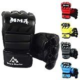 Brace Master MMA Handschuhe UFC Handschuhe Leather Padding für Männer, Frauen, Knöchelgelenkschutz, Fingerlose Sparring-Handschuhe für das Training, Kickboxen, Muay Thai, Boxen (Für Schwarz L)
