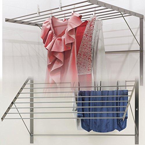 Brightmaison Wäschetrockner aus robustem Edelstahl, zur Wandmontage, faltbar, platzsparend, ca. 6,5 m Trockenkapazität