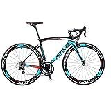 SAVADECK Rennrad, Warwind3.0 700C Carbon Rahmen Fahrrad mit Shimano SORA 18-Fach Kettenschaltung und Doppel-V-Bremse (Blau, 54cm)