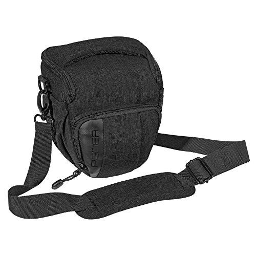 PEDEA SLR-Kameratasche 'Fashion' Schultertasche Messenger Kameratasche Umhängetasche Kamera Tasche mit Regenschutz, Tragegurt und Zubehörfächern, Gr. M schwarz