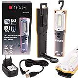 TECPO 300550 AKKU Werkstattlampe 1000 Lumen 27 SMD LED´s 10+3 Watt 6500 Kelvin IP 54 Arbeitslampe Stirnlampe Stablampe magnetisch Lithium-lonen 3.7V 6600 mAh