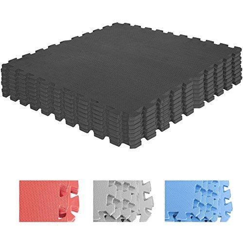 Schutzmatten-Set – GORILLA SPORTS 8 Puzzle-Matten / Sport-Matten 60 x 60 cm, Bodenschutz in Schwarz