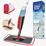Aiglam Sprühwischer, Bodenwischer mit Sprühfunktion für schnelle Reinigung, Spray Mop mit Sprühdüse, Wischer mit Wassertank und 2-Mikrofaserbezug (Grau & Rot, 300ml)