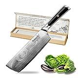 Sunnecko Hackmesser Chinesisches Kochmesser 7 inch/7zoll Küchenmesser Damastmesser Damaststahl Hackbeil für Küchen Ergonomischer Griff