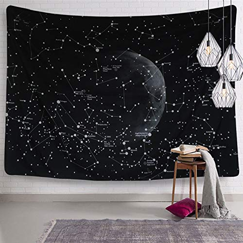 Dremisland Indisch Hippie Bohemian Mandala Wandteppich Wandbehang Tapisserie schwarz für Wohnzimmer Schlafzimmer Wohnheim Dekor (Konstellationen Karte, L / 148 X 200 cm(58' X 79'))