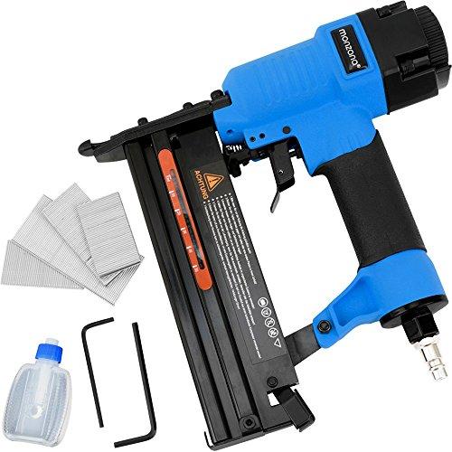 Druckluft Nagler und Tacker 2in1 inkl. Koffer  +Nägel  +Sechskant  +Öl 100er Magazin Drucklufttacker Druckluftnagler Klammergerät Nagelgerät