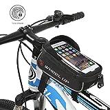 Hikenture Fahrradtasche mit Fingerabdruck Entsperren(Touch ID) Wasserdichte Rahmentasche mit TPU-Touchscreen, Oberrohrtasche für Fahrrad, Handyhalter Fahrrad, Geeignet für Handys bis 6 Zoll