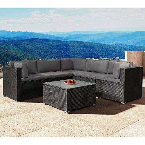 Polyrattan Gartenmöbel Lounge Sitzgruppe Nassau mit Bezügen in Dunkelgrau