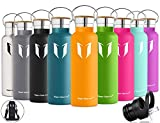 Super Sparrow Trinkflasche Edelstahl Wasserflasche - 500ml & 750ml & 1000ml - Isolier Flasche mit 100%-Zufriedenheitsgarantie | Perfekte Thermosflasche für das Laufen, Fitness, Yoga, Im Freien und Camping, Auto oder Unterwegs | Frei von BPA | Ideal als Wasser Flasche & Sportflasche - mit 2 auswechselbaren Kappen (Minze, 500ml-17oz)