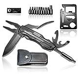 BERGGEIST Multi-Tool Survival Taschenmesser Set aus Edelstahl | Klappmesser & Zange | Inklusive EDC Kreditkartenmesser