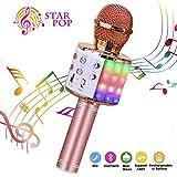 BlueFire Karaoke Mikrofon, Bluetooth Mikrophon mit Aufnahme, Dynamisches Licht Drahtlose Tragbares Handmikrofon mit Lautsprecher für Erwachsene und Kinder, Kompatibel mit Android IOS PC