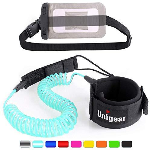 Unigear Surfboard Leash, 7mm&10Ft Aufgerollte TPU Paddle Leash für Stand up Paddle Board Surfboard mit wasserdichte Handytasche