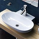 Aufsatz-/ Hängewaschbecken Brüssel899, BTH: 56x38,5x12cm, in weiß, aus Keramik, inkl. Nano-Beschichtung/Lotus-Effekt