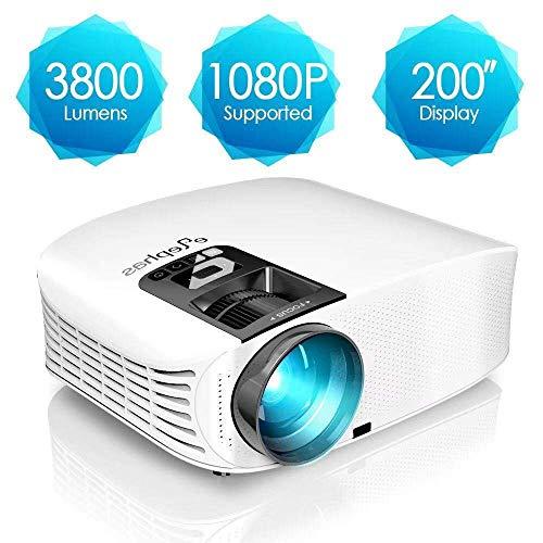 Beamer, ELEPHAS [Upgrade Version] 1080P HD 3800 Lumen 200' LCD Beamer, für Film Unterhaltung Spiele, unterstützt HDMI VGA AV USB Micro SD, Weiß