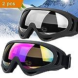 JTENG Motorrad Goggle Motocross skibrille Sportbrille Wind Staubschutz Fliegerbrille Snowboardbrille Schneebrille Skibrille Wintersport Brille Dirtbike Off-Road Schutzbrille Radsportbrille (2pcs: 1 Farbe+ 1grau)